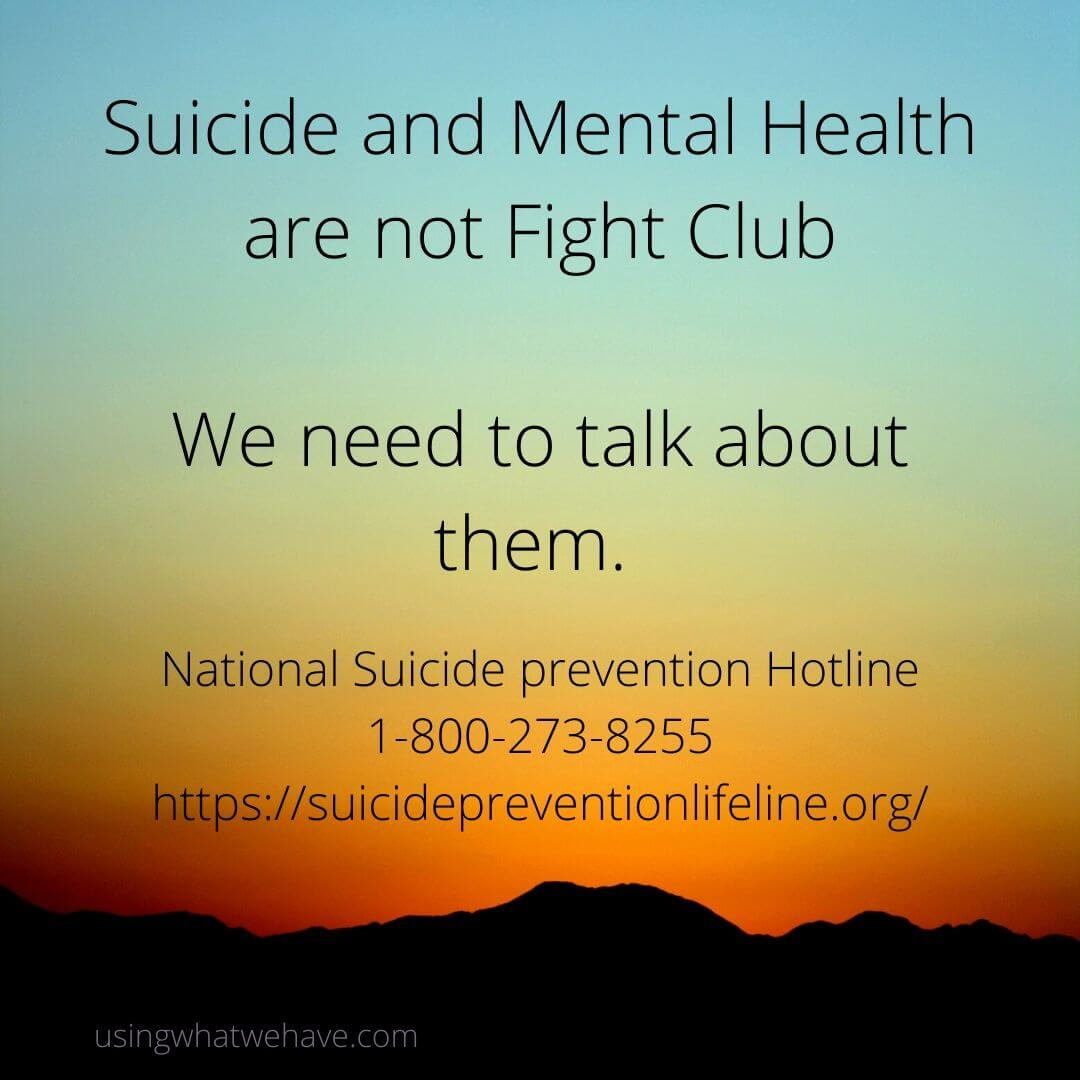 Sunset Scene with Suicide prevention hotline information
